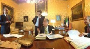 Alfano, Franceschini,Patroni Griffi e Letta nella foto postata da Zanonato sul suo profilo Twitter