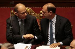 ENRICO LETTA E ALFANO NEL GIORNO DELLA FIDUCIA AL GOVERNO FOTO LAPRESSE
