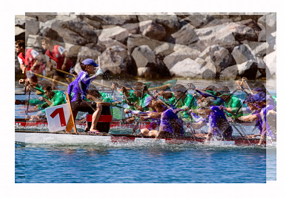 The Dragon Boaters - Photo Impressionistic Montage by Stephen D'Agostino