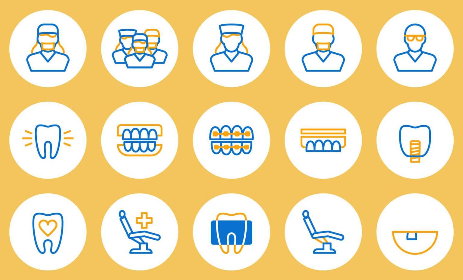 Icone personalizzate per specializzazioni dentista