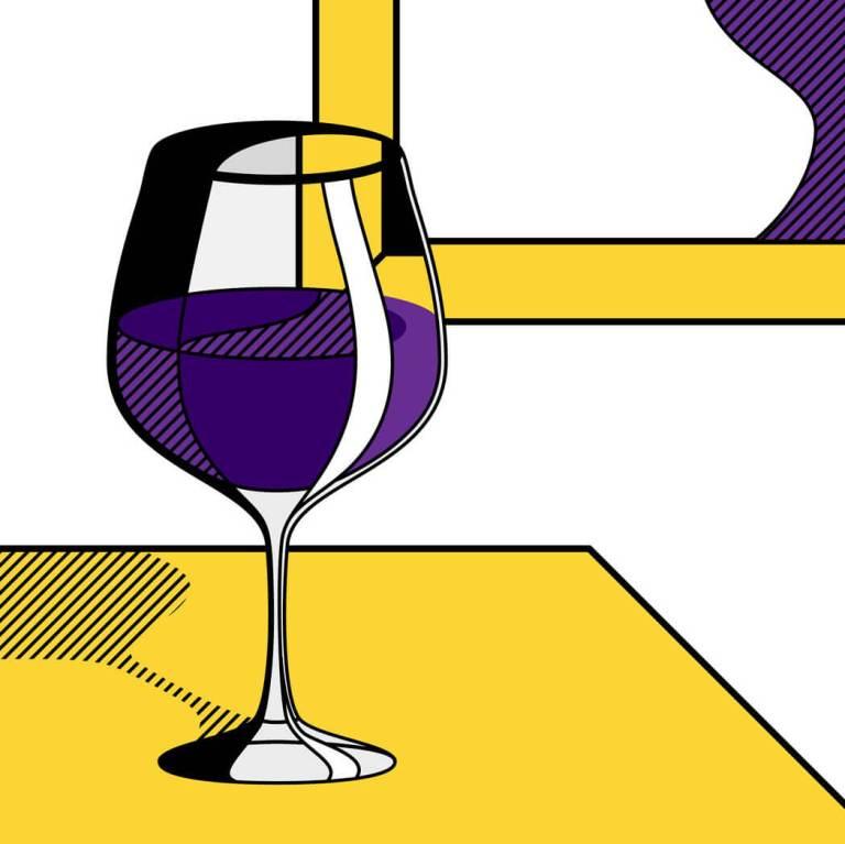 Illustrazione di un calice di vino