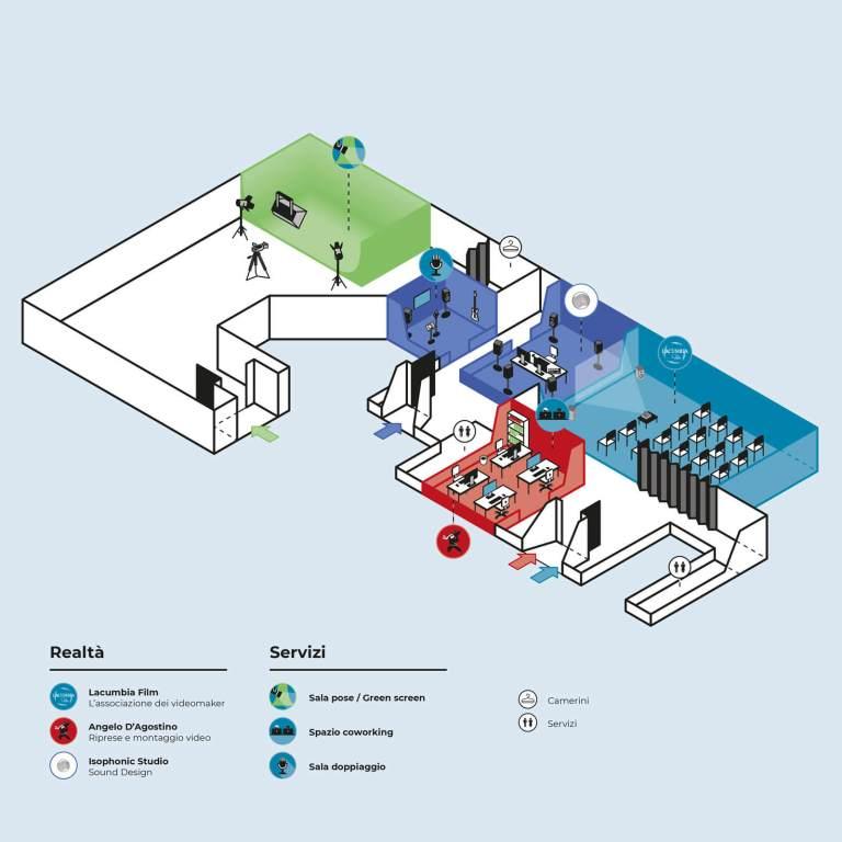 Mappa spazi e attività Lacumbia Film