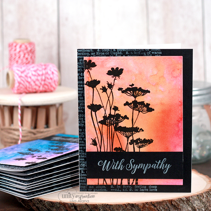 A handmade card idea to help create multiple cards with a beautiful watercolor background using spray inks. So easy to do - watch the video on how to recreate this look using Unity Stamp Company stamps and the MISTI tool.