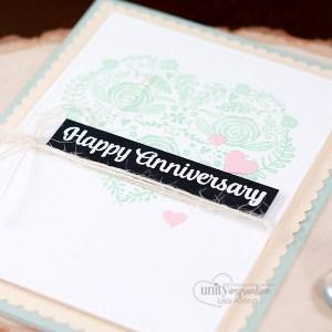Blog + video tutorial: Sharing a lovely and simple card idea. Some simple and easy stamping with a popped up embossed sentiment. All stamps are by Unity Stamp Company. More inspiration at dahlhouse-designs.com #handmade #cardmaking #card #ideas #howto #tutorial #video #papercrafts #unitystampco #diecutting #anniversary