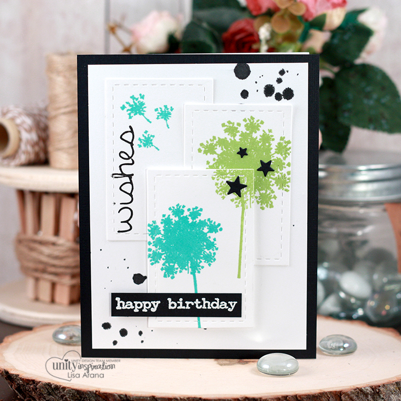 Blog + video tutorial: Sharing a 3 tiered die cut card layout. The stamping and layering was made easier using my MISTI tool. All stamps are by Unity Stamp Company. More inspiration at dahlhouse-designs.com #handmade #cardmaking #card #ideas #howto #tutorial #video #papercrafts #unitystampco #diecutting #birthday #MISTI #ginaK