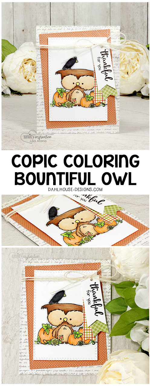 Sharing a Copic marker colored thank you card using Unity Stamp Company stamps. Details and a video tutorial available at dahlhouse-designs.com. #dahlhousedesigns #handmade #stamping #cardmaking #card #ideas #howto #tutorial #video #papercrafts #unitystampco #diecutting #fall #thankyou #copic #markers #owl #pumpkins