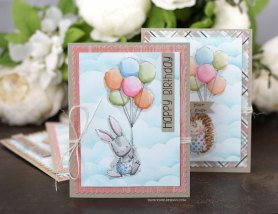 Sharing this birthday card idea with a tutorial and quick video for how to watercolor with Distress Inks and create a cloud background. The images are from the Happy & Hedgie and Hugs, Kisses & Birthday Wishes Unity Stamp Company stamp sets. More inspiration on dahlhouse-designs.com.   #cardmaking #cardmaker #cards #stamping #dahlhousedesigns #unitystampco #ideas #diy #howto #tutorial #video #handmadecards #diecutting #watercolor #distressinks #ranger #birthday #clouds #background