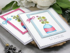 Sharing a fun and cute card idea for die cut framed images with a tutorial and quick video. Watercoloring with Arteza Watercolor Brush Pens. The images are from the Sometimes I Wonder Unity Stamp Company stamp set. More inspiration on dahlhouse-designs.com.   #cardmaking #cardmaker #cardmakingideas #cards #stamping #dahlhousedesigns #unitystampco #ideas #diy #howto #tutorial #video #handmadecards #diecutting #arteza #watercolor #brushpen #birthdaycard #mftstamps