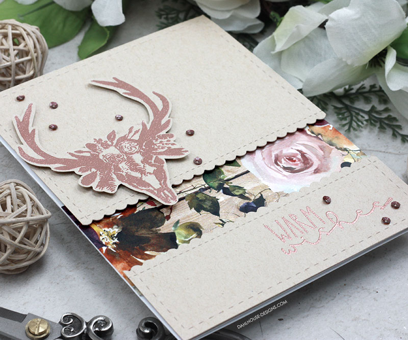 Sharing a card idea for this shabby chic rustic card with a tutorial and quick video. It is a great general card to send anyone happy wishes. The images are from the Rustic Wishes Unity Stamp Company stamp set. More inspiration on dahlhouse-designs.com. #cardmaking #cardmaker #cards #stamping #dahlhousedesigns #unitystampco #handmadecards #diecutting #diy #carddesign #cardcraft