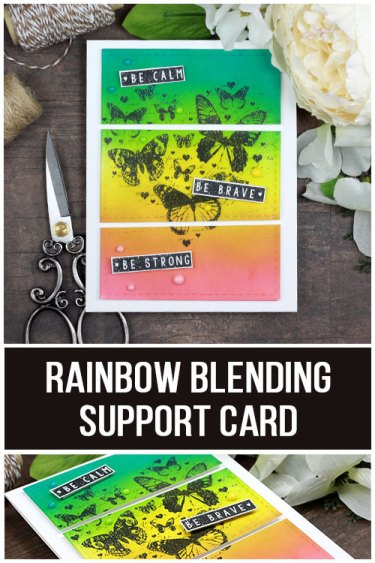 Sharing a simple card technique for a rainbow background using Distress Inks. The images are from the Trust it Will be Okay Unity Stamp Company stamp set. More inspiration on dahlhouse-designs.com.   #cardmaking #cardmaker #cardmakingideas #cardinspiration #cards #stamping #dahlhousedesigns #unitystampco #rangerink #distressink #support #handmadecards #diecutting #diy #carddesign #cardcraft