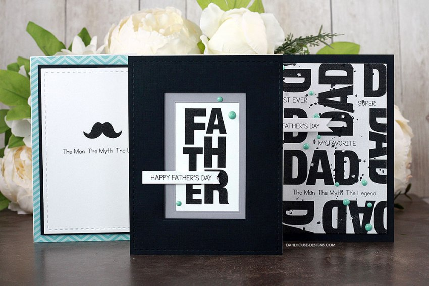 Sharing simple card ideas for Father's Day with a tutorial & quick video. Great basic masculine card ideas. The images are from the Favorite Dad Unity Stamp Company stamp set. More inspiration on dahlhouse-designs.com. #cardmaking #cardmaker #cardmakingideas #cardinspiration #simplecards #cards #stamping #dahlhousedesigns #unitystampco #handmadecards #diecutting #father #fathersday #carddesign