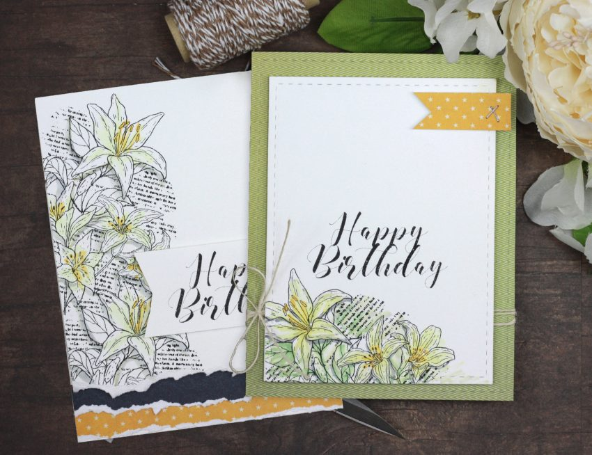 Sharing a couple simple birthday card ideas with a tutorial & quick video. The lily image is from the You are my Always Unity Stamp Company stamp set. More inspiration on dahlhouse-designs.com. #cardmaking #cardmaker #cardmakingideas #cardinspiration #simplecards #cards #stamping #cardmaking #cardmaker #cardmakingideas #cardinspiration #simplecards #cards #stamping #dahlhousedesigns #unitystampco #handmadecards #diecutting #diy #carddesign #cardcraft