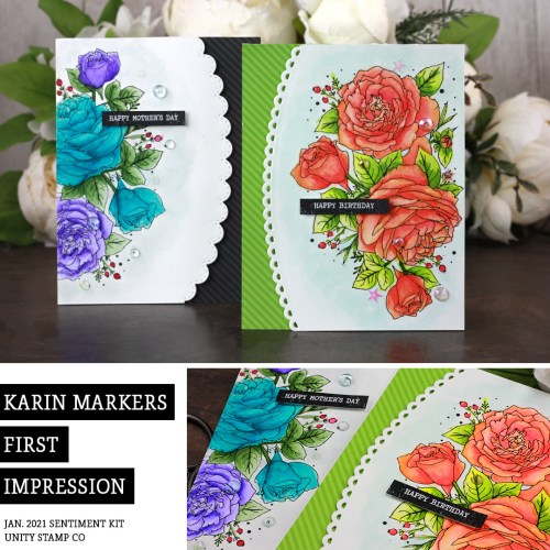 Sharing a my first impression of Karin Brushmarker Pros watercolor markers with a tutorial & quick video. The images are from the Hello Fresh Start Unity Stamp Company stamp set. More inspiration on dahlhouse-designs.com. #cardmakingideas #cardmaker #cardmakingideas #cardinspiration #karin #watercolor #mothersdaycard #birthdaycard #dahlhousedesigns #unitystampco #handmadecards #carddesign #watercolorflowers