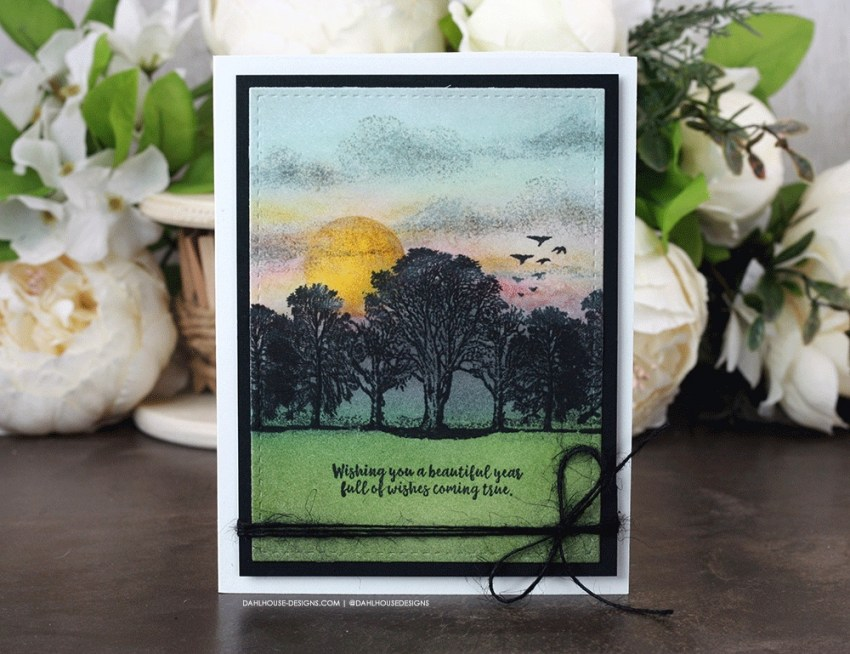 Sharing a card idea for creating a scened with mirrored trees with a tutorial & quick video. The images are from the No Better Words Unity Stamp Company stamp set. More inspiration on dahlhouse-designs.com. #cardmaking #cardmaker #cardmakingideas #cardinspiration #simplecards #stamping #dahlhousedesigns #unitystampco #handmadecards #diecutting #carddesign #distressink #birthdaycard #MISTI #cardtechnique