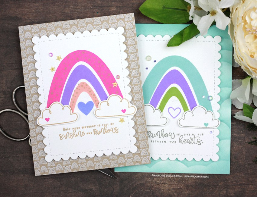 Sharing a simple card idea with rainbows and background techniques with a tutorial & quick video. The images are from the Sunshine and Rainbows Unity Stamp Company stamp set. More inspiration on dahlhouse-designs.com. #cardmakingideas #cardmaker #cardmakingideas #cardinspiration #simplecards #rubberstamps #dahlhousedesigns #unitystampco #handmadecards #carddesign #craftersgonnacraft #papercrafting #papercrafts #rainbows #birthdaycard #ginak