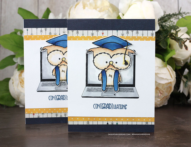Sharing a fun and cute graduation card featuring an owl and computer. Images are from the owl graduate and virtual hugs stamp set by Unity Stamp Company stamp set. More inspiration on dahlhouse-designs.com. #ad #cardmaker #cardmakingideas #cardinspiration #simplecards #rubberstamps #dahlhousedesigns #unitystampco #handmadecards #carddesign #craftersgonnacraft #papercrafting #papercrafts #graduation