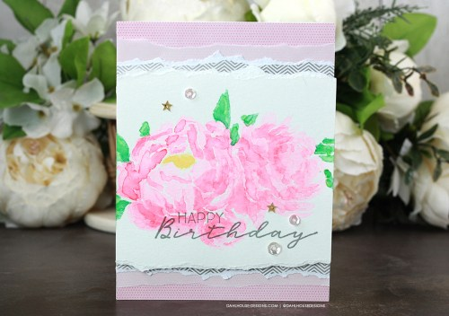 Sharing a simple card idea on how to watercolor with a layering stencil. Join me for a tutorial & video. The images are from the Birthday Blooms Unity Stamp Company stencil and stamp set. More inspiration on dahlhouse-designs.com. #ad #cardmaker #cardmakingideas #cardinspiration #simplecards #rubberstamps #layeringstencil #stencil #watercolor #karin #dahlhousedesigns #unitystampco #handmadecards #carddesign #craftersgonnacraft #papercrafting #papercrafts