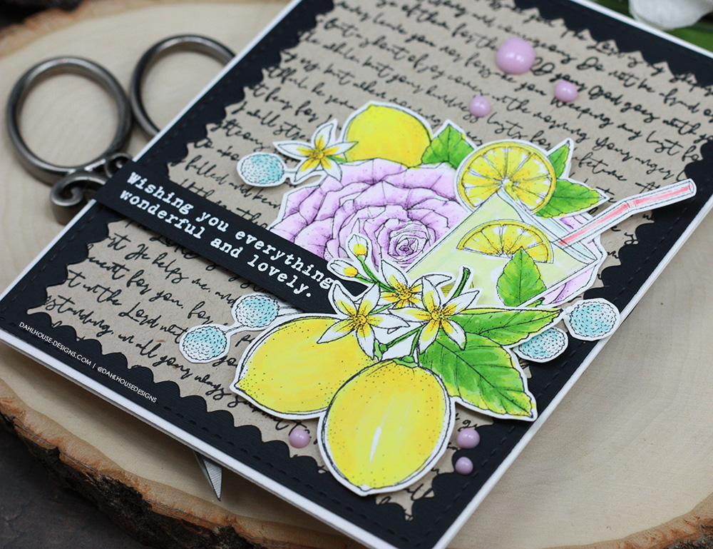 Sharing a card idea for with a tutorial & quick video. Techniques include die cutting, alcohol marker coloring and stamping. The images are from the Roses and Lemons Unity Stamp Company stamp set. More inspiration on dahlhouse-designs.com. #ad #cardmaker #cardmakingideas #cardinspiration #simplecards #rubberstamps #dahlhousedesigns #unitystampco #handmadecards #carddesign #craftersgonnacraft #papercrafting #papercrafts #birthdaycard