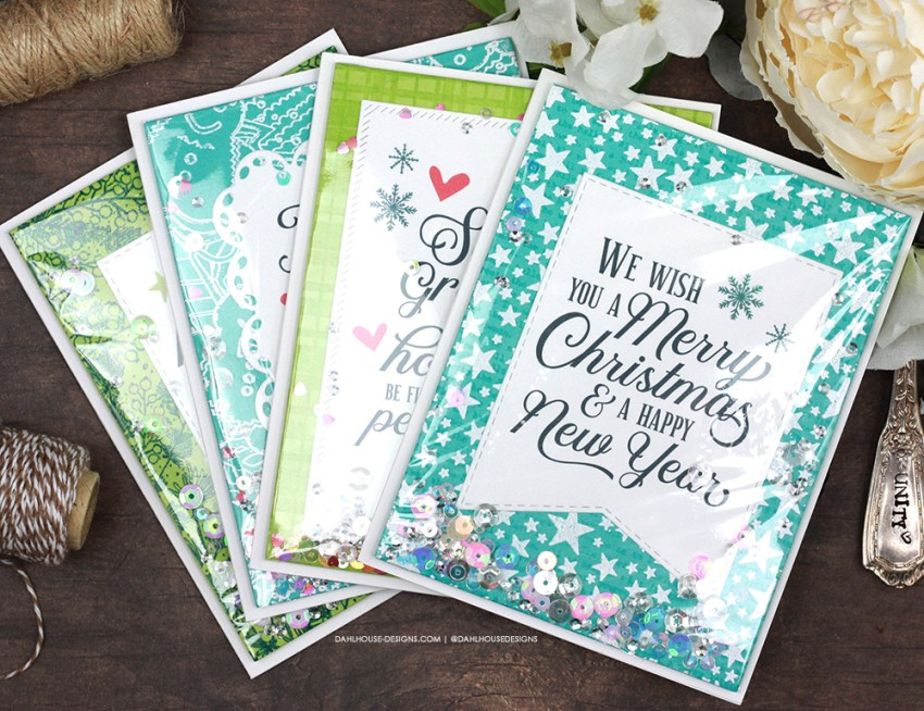 Sharing a pretty shaker card idea for holidays with a tutorial & quick video. Lots of great sentiments and background stamps used for Christmas cards. The images are from the Holiday. Faith. Hope. Love. Unity Stamp Company stamp set. More inspiration on dahlhouse-designs.com. #cardmaker #cardmakingideas #cardinspiration #simplecards #rubberstamps #dahlhousedesigns #unitystampco #ad #christmascards #holidaycards #infinityshaker #shakercard #handmadecards #carddesign #craftersgonnacraft #papercrafting #papercrafts #shortandsweetvideo