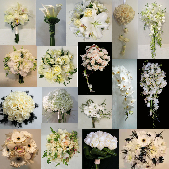 inspiration board white bouquets