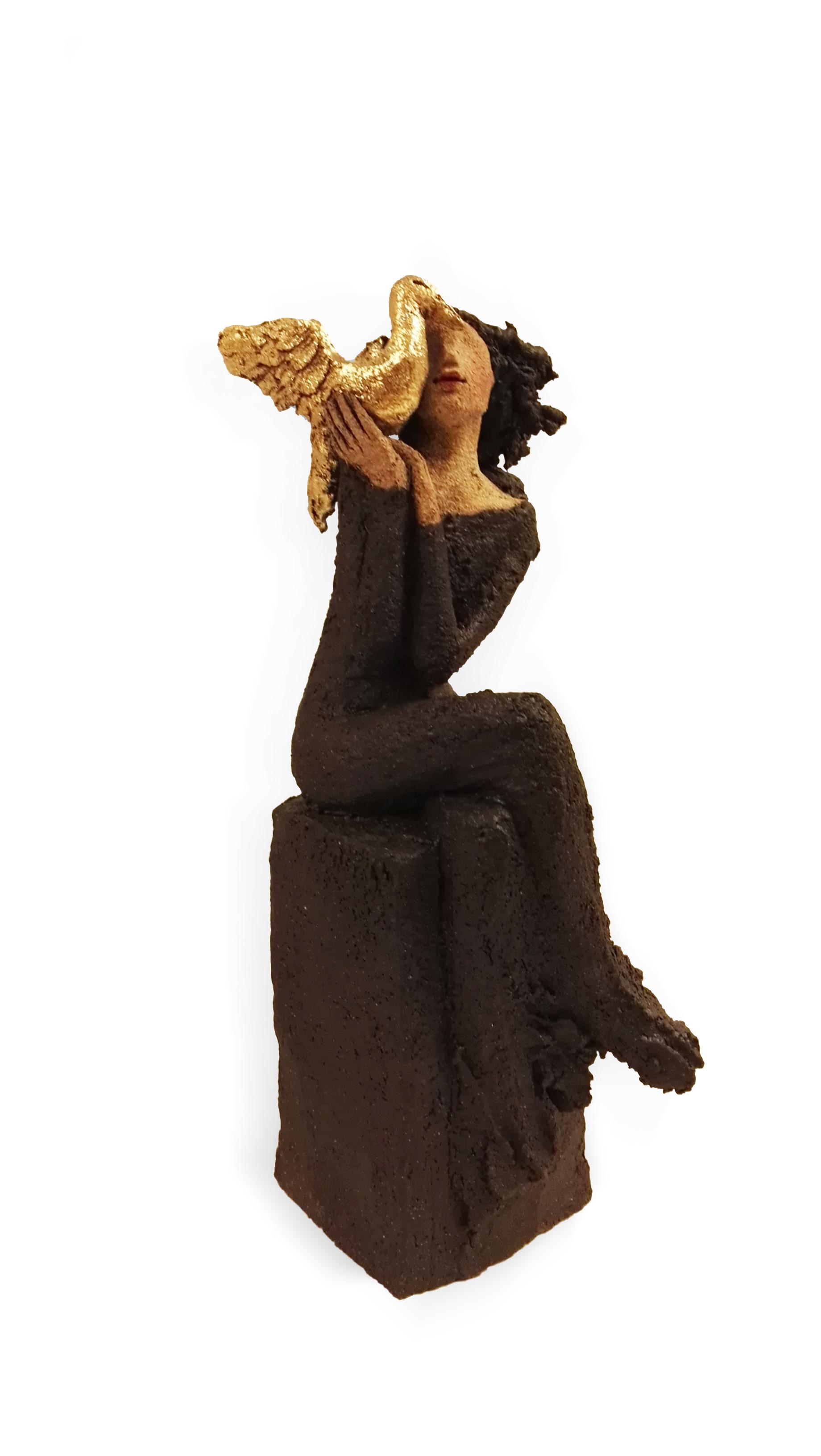 Gullegget, gullfuglen, keramikk, skulptur, Ingun Dahlin