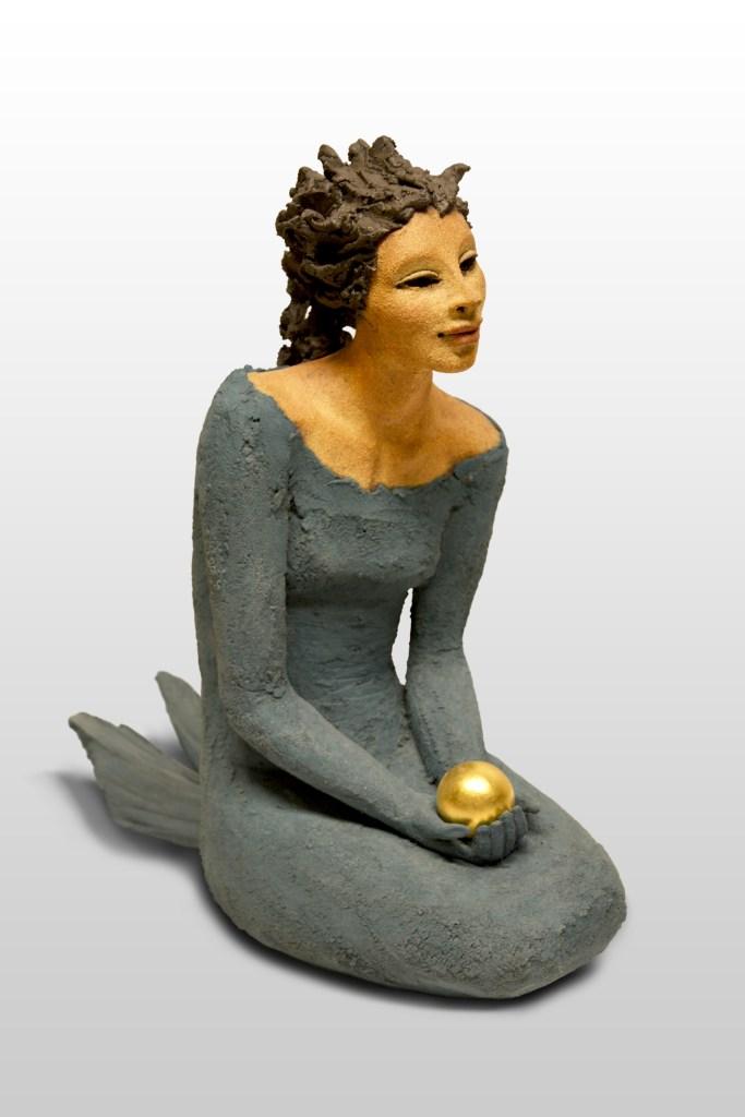 Havfrue, gullperle, keramikk, skulptur, Ingun Dahlin