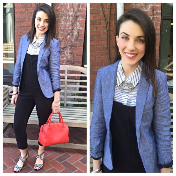 Youngest daughter Madeline Marin-Foucher: Trendy black overalls create a long, lean look.