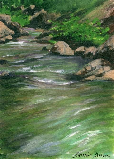 An acrylic painting I did while perched on a boulder in the middle of the North Fork Teanaway River.