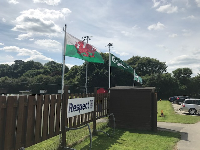Welsh Flag Flying To Welcome The Bluebirds To AFC Tavistock