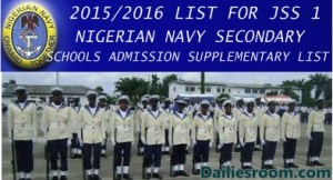 NIGERIAN NAVY SECONDARY SCHOOLS ADMISSION SUPPLEMENTARY LIST OUT