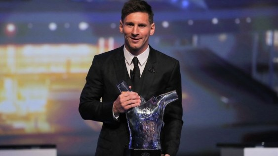 Lionel Messi (UEFA Best Player in Europe Award) at the UEFA Champions League group stage draw