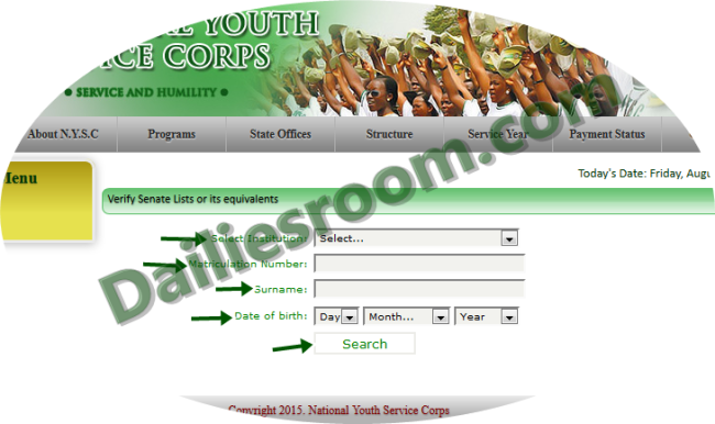 2015 NYSC Call-Up Letter Printing, Online NYSC status checker for Batch B