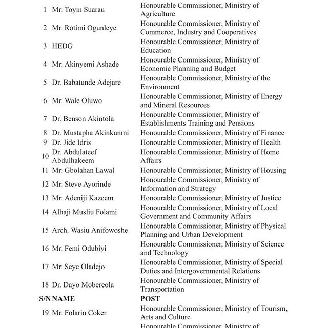 Appointed Lagos State Commissioners and Special Advisers Full List