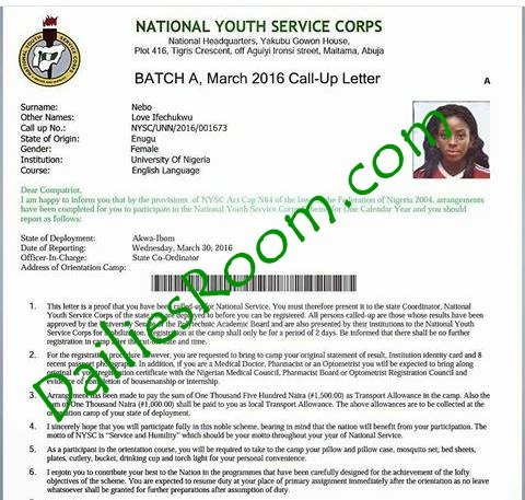 NYSC Call-Up Letter Sample logo