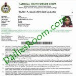 PHOTO – NYSC Call-Up Letter Sample printed from nysc.org.ng