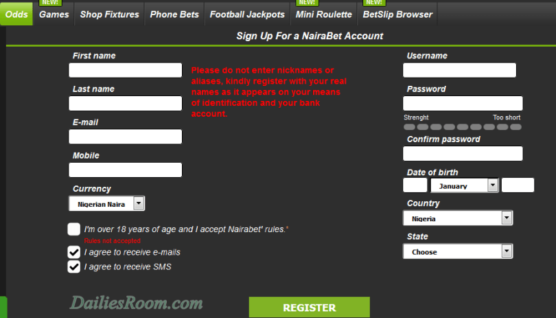Nairabet Mobile Registration Portal - How To register NAIRABET Account, Bet SignUp / Login