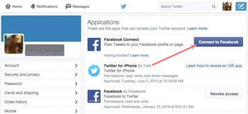 How to connect Twitter account with Facebook profile - connecting platforms