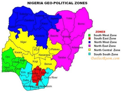 The 6 Geopolitical Zones in Nigeria and their states | List of the Zones And States