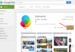 steps to install moments app free on android device - share photos
