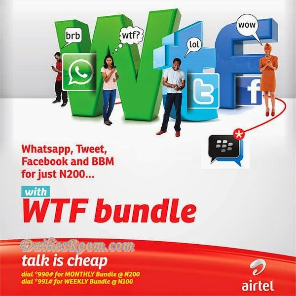 Checkout Airtel Nigeria WTF Bundle | unlimited access to Whatsapp, Twitter, Facebook and BBM