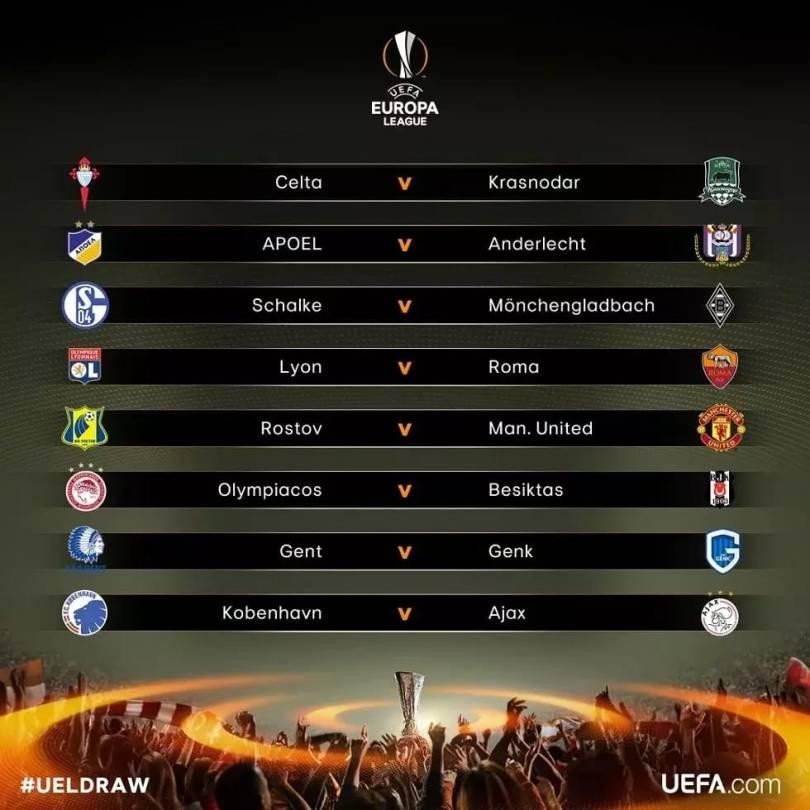 Full Europa League Last 16 Draws 2017   Lyon vs Roma, Man United vs Russian club