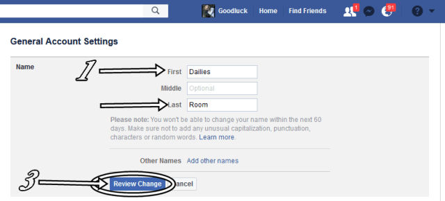 Infography to Change Facebook Account Name