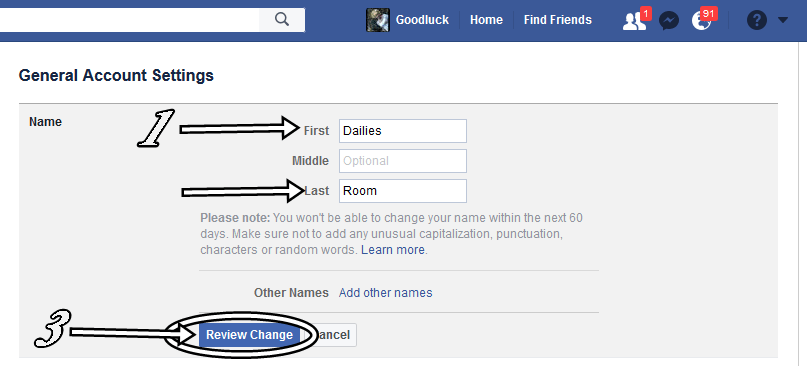 how to change the name in facebook page