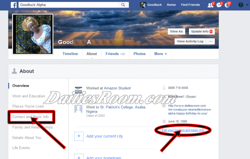 Facebook General Account Settings