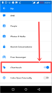 Steps to Turn on/off Facebook Messenger Chat Heads on android device