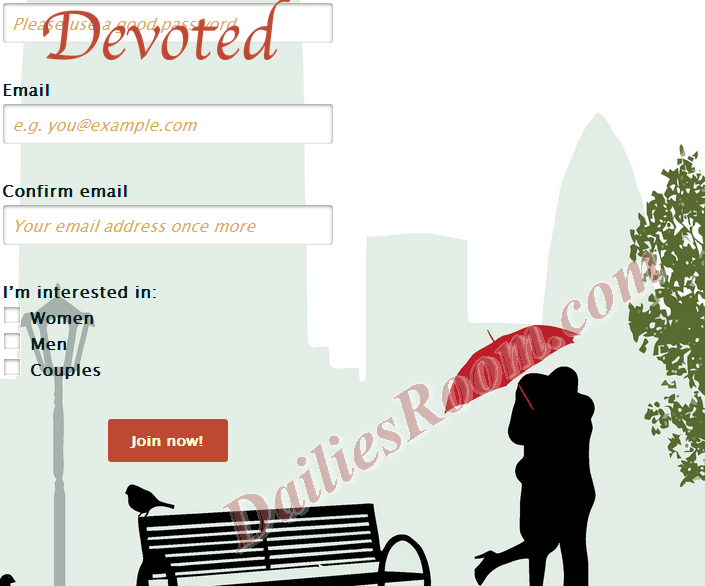 Online dating site registration