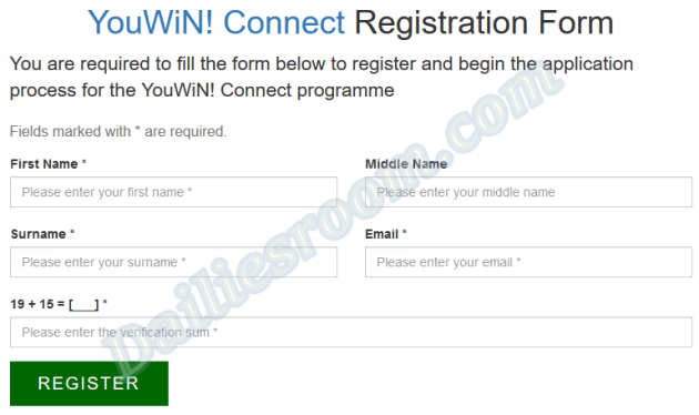 2018/19 YouWin Connect Registration Form - How to Apply & Requirements