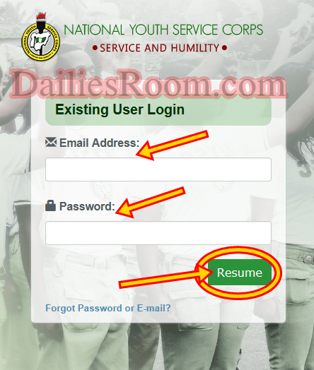 NYSC Dashboard Login