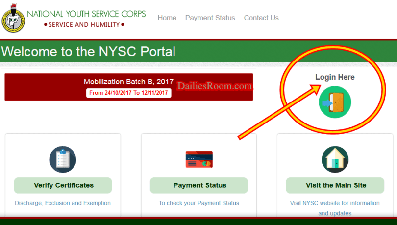 How to Login NYSC Dashboard Portal to Print Call-up letters online, Relocation