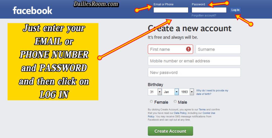 Facebook New Account Sign In - www.fb.com Login